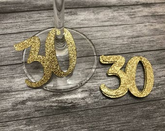 30th Glass Charms or tags x 12 Silver or Gold - thirtieth Birthday party, Decorations