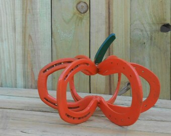 Pumpkin made from real horseshoes hand garden yard art crafted in the USA