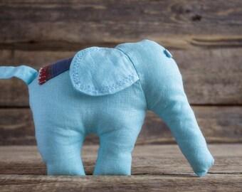 Light Blue Stuffed Elephant, Soft Plush Toy, Baby Nursery Decor, Handmade Plushie, Waldorf Toy, Linen Animal, Eco friendly Shower Gift