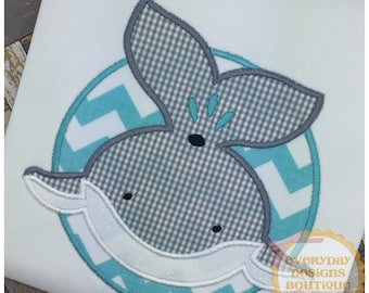 Smiling Whale Patch Machine Embroidery Applique Design