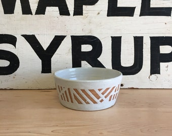 Exposed Clay and White Graphic Bowl | Handmade Pottery | Modern | Stoneware