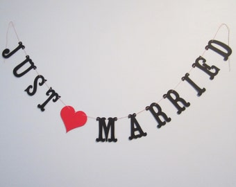 Just Married Banner - Custom Colors - Wedding Decoration or Photo Prop