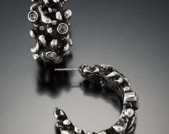 Antique Silver Hoop Earring With Crystals