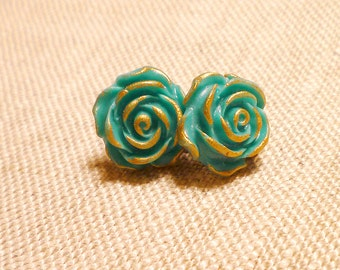 Turquoise and Gold Post Earrings, Sea Green Roses, Feminine delicate, Bridesmaids Earrings