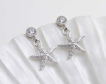 Silver Starfish Stud ~ Matte Silver Colored Starfish with Small Cubic Zirconia ~ Gift for Her ~ Beach Wedding ~ Simple Modern Jewelry