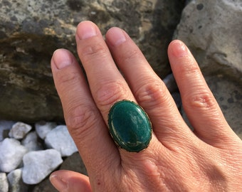 Forest green mountain jade, Gemstone Ring with Filigree Lace Adjustable Band, Large Stone Ring - Boho Gypsy