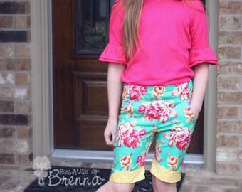 Emilya's Skinny Pants, Capris & Bermuda Shorts. PDF sewing pattern for toddler girl sizes 2t - 12.