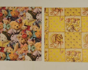 Wrapping Paper Baby Booties Teddy Bears Vintage