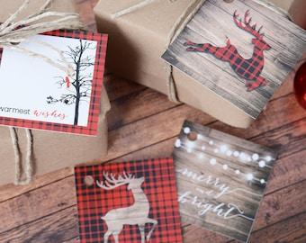 Christmas Gift Tag Set - 24 Holiday Gift Tags - 24 Christmas Present Tags - Rustic Christmas Gift Tags - Christmas Themed Tags