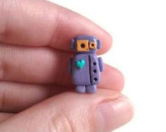 Robot art, collectible figurine, miniature robot figure, geeky gift, polymer clay sculpture, designer art toy, retro.