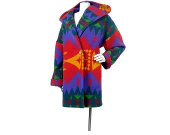 Vintage 80s Coat - Navajo Blanket Coat - 80s Navajo Coat - Rainbow Coat - 80s Wool Coat - Southwest Coat - Hooded Coat - Wool Navajo Coat XL