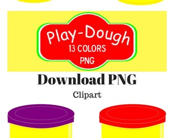 Play dought clipart, 16 PNG art clips, 13 colors