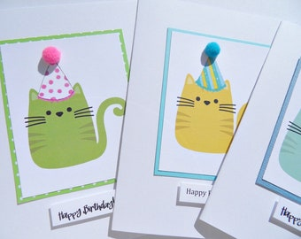Kids Birthday Cards - Funny Birthday Cards -Birthday Cards for Cat Lovers - Cat Cards - Party Hats Cards - Friendship Cards - cbc2