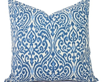 Two Decorative Pillow Covers - Blue and Beige Ikat - Blue Pillow Cover - Srilanka Pillow Cover - Cushion Cover Accent Pillow