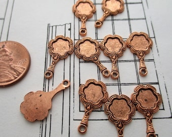 Looking Glass Copper Vintage Charms Ten (10) Dainty Hand Mirror Jewelry Findings (E1)