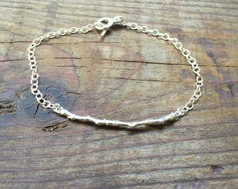 Sterling silver bracelet with twig, sterling silver twig bracelet