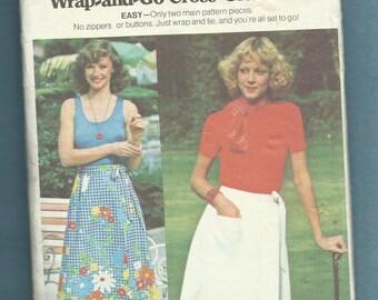 1970's Butterick 4185 Classic Retro Wrap Skirt Size Small 8/10