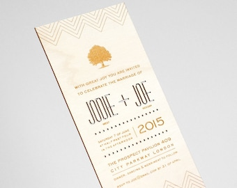 Into the Woods laser cut and engraved wedding invitation and RSVP set