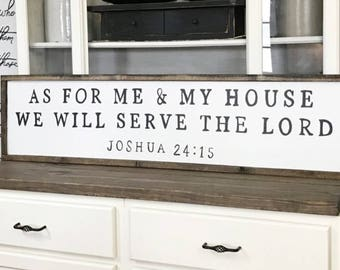 As For Me and My House We Will Serve The Lord Wood Framed Sign Canvas Sign