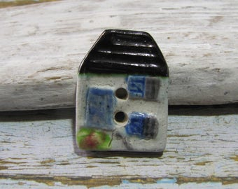 Home Sweet Home ceramic button handmade tiled roof House for creating knitted crochet fashion jewelry