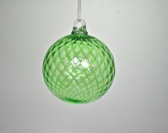 Hand Blown Glass Ornament: Peridot Green Christmas Ornament (Jewel Collection), Gift Idea