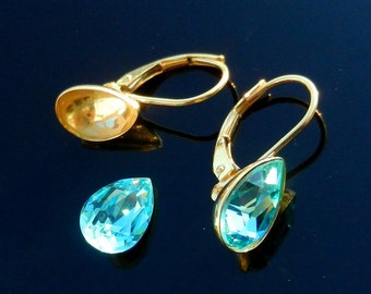 Vermeil 24k Gold Over Sterling Silver Earring Lever Back Ear Wires for Crystals Swarovski 4320 Pear shaped 10mm