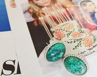 Gorgeous!! Turquoise and Silver Earrings Stud