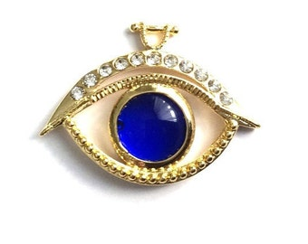 1pc- Matte Gold Plated Crystal Eye with Blue glass evil eye Pendant-40x30x3 mm-(014-049GP)