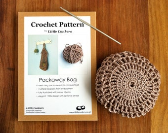 Crochet Pattern / Gift for Crocheter / Crochet Gift / String Mesh Bag Purse Printed Paper Pattern / Craft Gift  / Eco-friendly