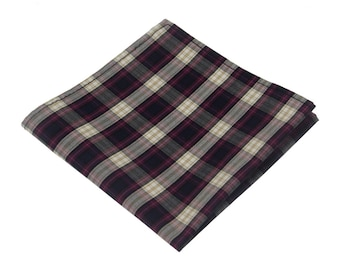 Mens Plaid Pocket Square.Burgundy Checked Pocket Square.100% Cotton Handkerchief.