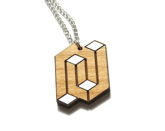 Man or woman necklace, unisex wood pendant, geometric graphic chic minimal jewel, opt art inspiration, unique gift present, made in France