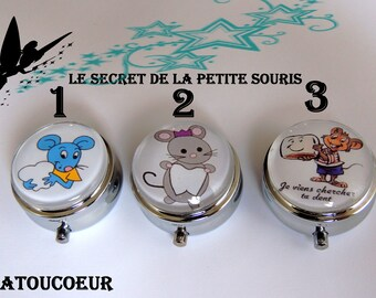 """Mini box """"The secret of the little mouse"""" tooth chromed metal."""