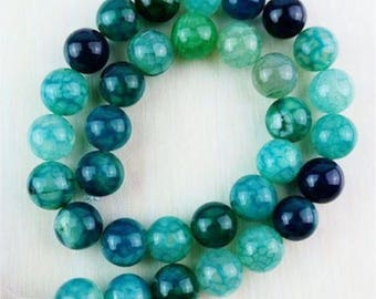 Teal Green  Mix Dragon Vein Agate Beads 6mm mixed shades