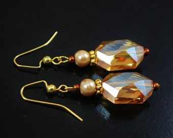 FREE SHIPPING, amber earrings, amber golden earrings, amber crystal earrings, golden crystal earrings