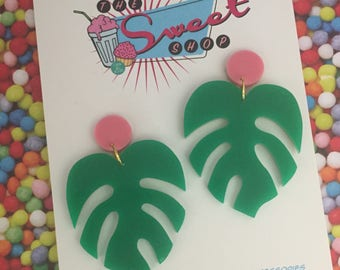 Giant Acrylic Monstera Dangles
