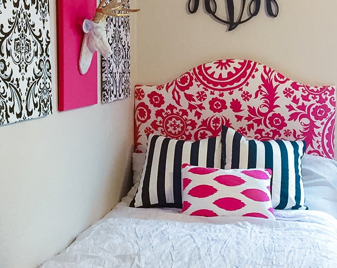 Classic Dorm Headboard, Twin Headboard, Bold Pink Fabrics, Dorm Room Headboard, Dorm Decor, Graduation Gift, Bedroom Decor, Dorm Decorations