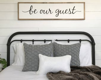 Guest room decor | be our guest sign | framed sign | wood sign | farmhouse wall decor | farmhouse sign | 1' x 4'