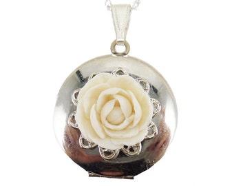 Peony Locket Necklace - Peony Jewelry