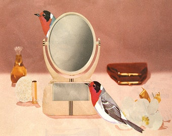 Red-faced warblers. Limited edition print by Vivienne Strauss.
