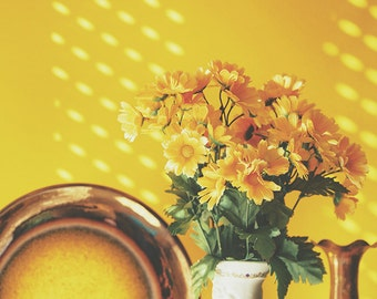Kitchen Wall Art, Pretty Flowers, Yellow Orange, Jug Vase Photo, Dining Room Art, Shabby Chic, Fine Art Photography, Home Decor, Wall Art