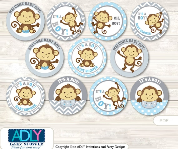 Boy Monkey Cupcake Toppers for Baby Shower Printable DIY