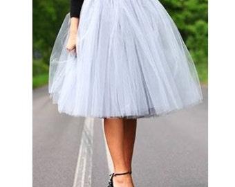 Very Full Fluffy Pale Gray Tulle Skirt
