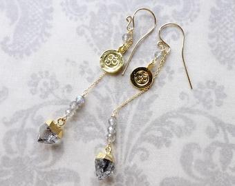 18k Gold Vermeil Om Charm and Crystal Point Quartz  3-way Dangling Earrings, Yoga Earrings, zen Earrings