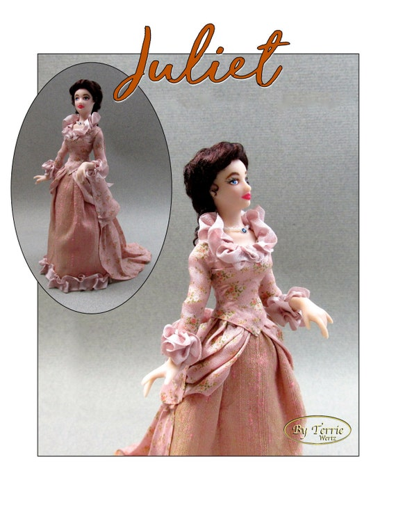 Dollhouse Doll JULIET Doll Pattern & Tutorial Instructions PDF Miniature 1:12 Scale Instant Download DIY 1870 Victorian (Intermediate)