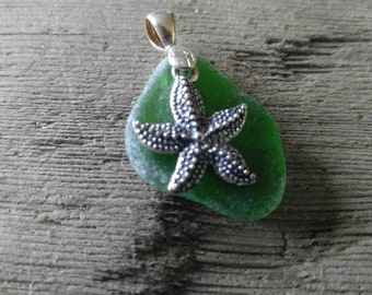 Green Sea Glass Pendant with Starfish from Maryland's Eastern Shore
