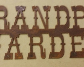 GRANDPAS GARDEN Rusted Metal Sign FREE Shipping