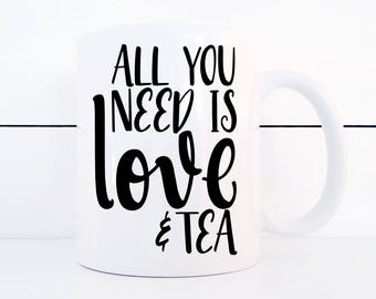 Love and Tea Ceramic 11 ounce Mug Treat Yo-Self for Valentine's Day/ Galentine's Day
