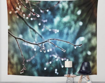 Rainy Day, Wall Tapestry, Large Wall Art, Tree Wall Tapestry, Modern Art, Home Decor, Nature Tapestry, Dorm, Office, Sky Blue, Raindrops
