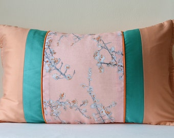 Beautiful Vintage Pink Floral Print Pillow Cover , Pale Pink Floral Cushion Cover , Pink Floral Decorative Pillow ,  Spring Cushion Cover