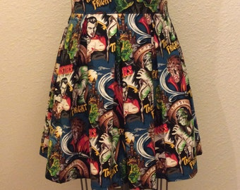 Movie Monster Printed Adult High Waisted Skater Skirts